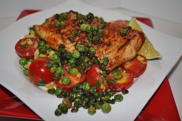 largemouth bass recipe with succotash and crispy peas