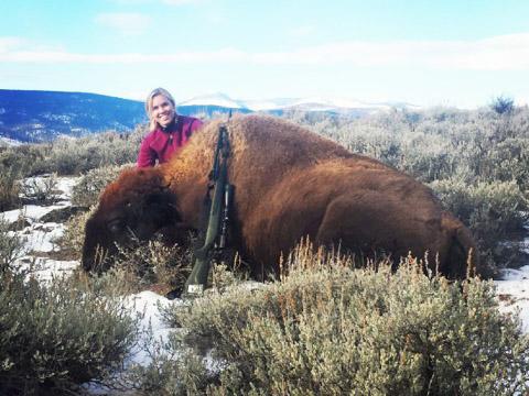 Carolyn Jordan hunting bison