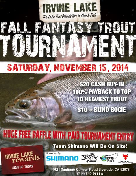 Irvine Lake Fall Trout Tournament