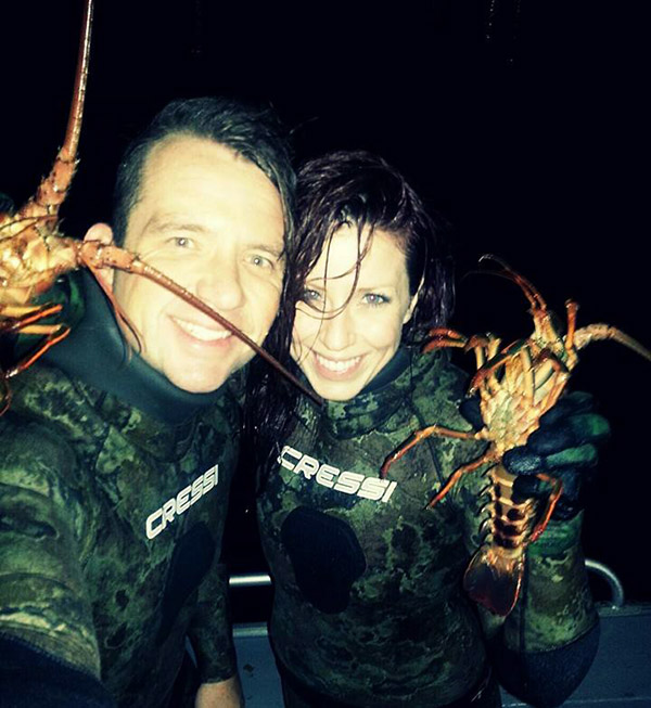 Abbey Wagley lobster diving