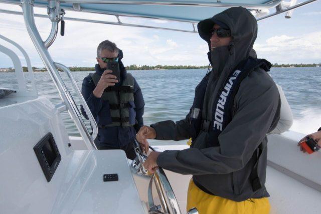 rush maltz using joystic on boat
