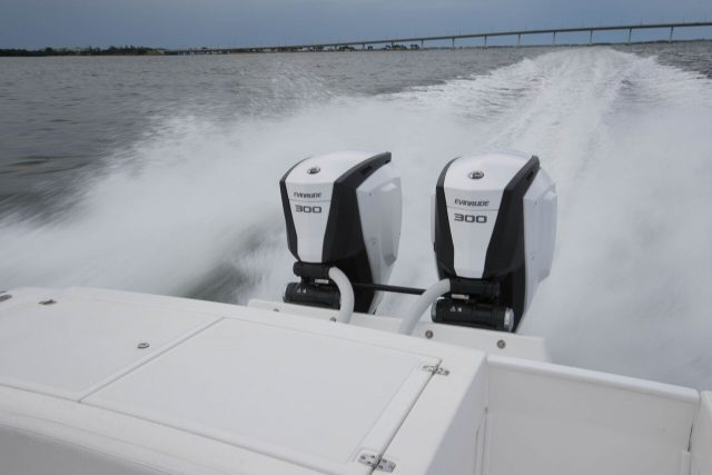 Evinrude Outboards twin Engine on Boat