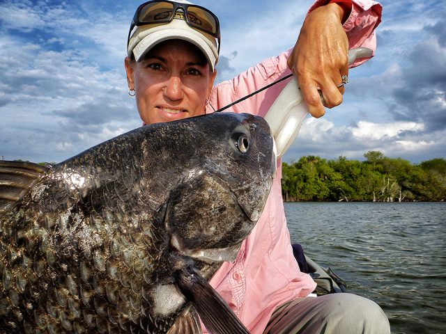 Dee Kaminski fishing inshore