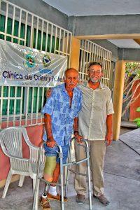 "Paul Boe CPO(e) with Captain Jesus Araiza testing his new prosthesis and ""Renegade"" foot."