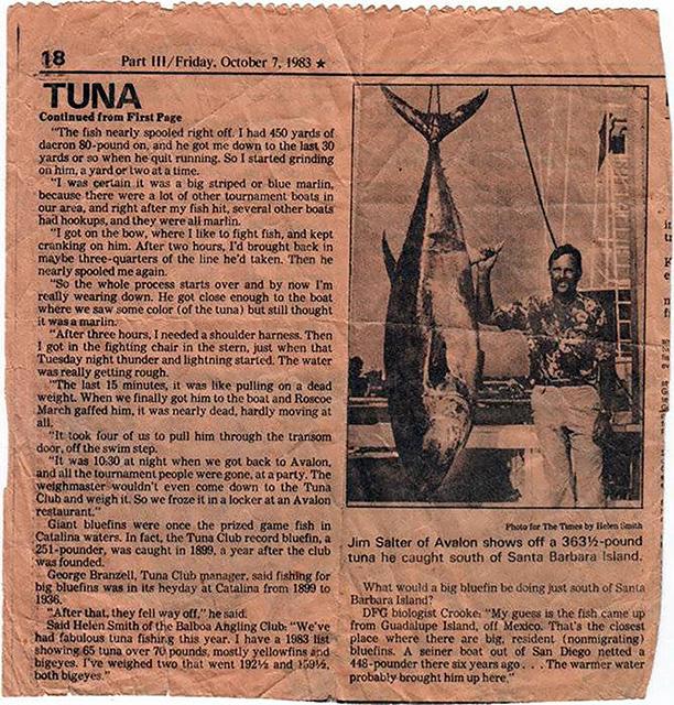 largest California bluefin tuna