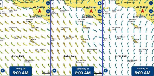 Navionics forecast winds affect bluefin fishing