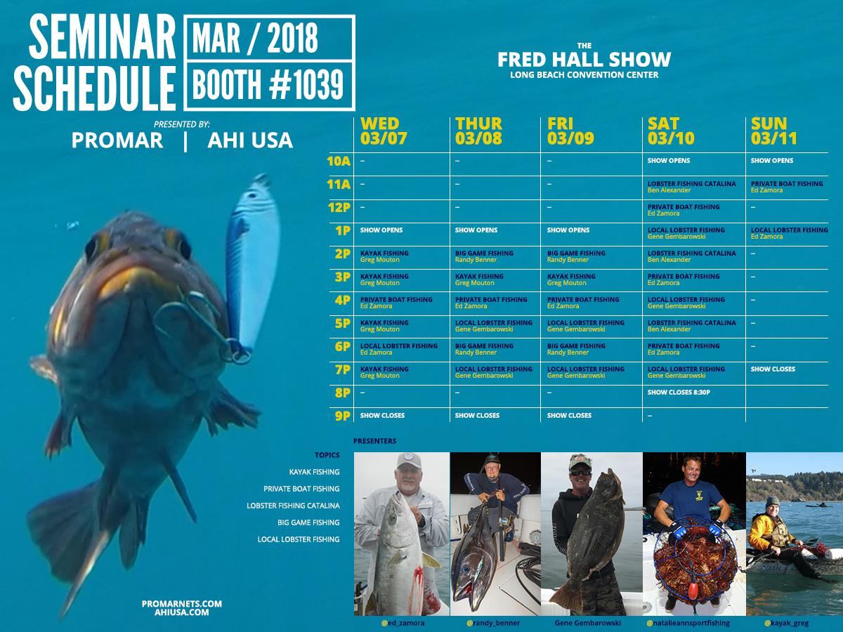 Ahi USA & Promar Fred Hall Show seminar schedule