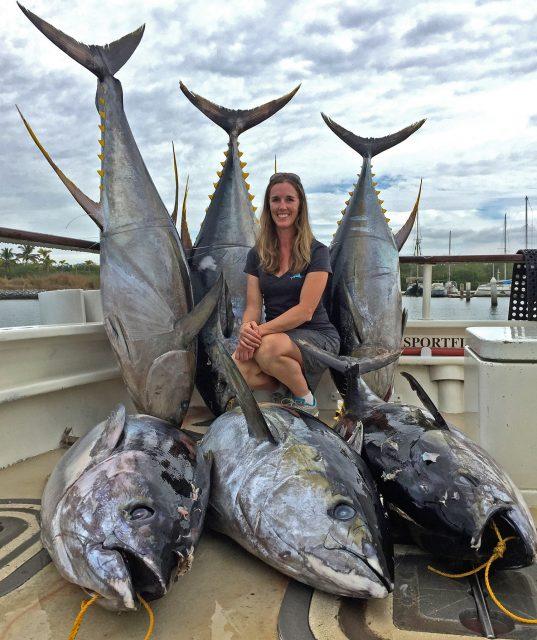 Lisa Griffith with cow yellowfin tuna