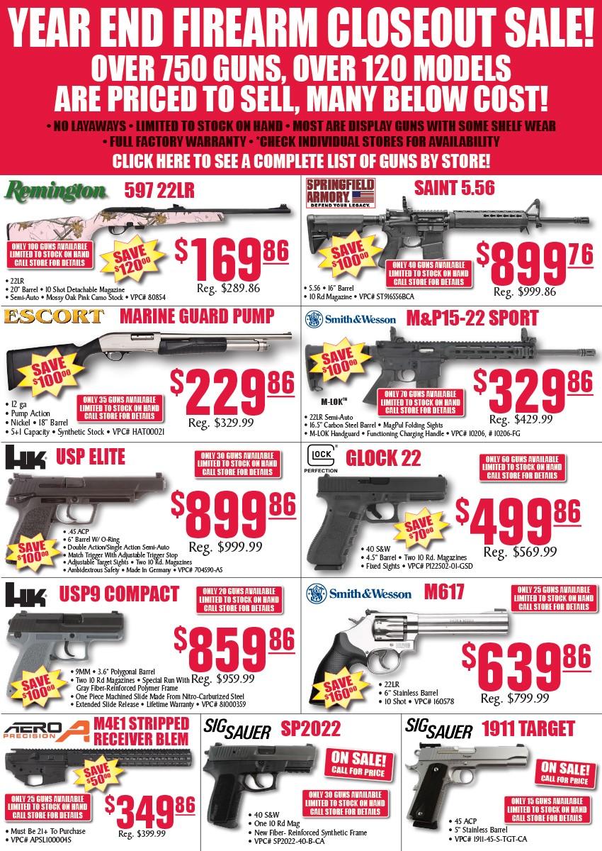 firearm closeout
