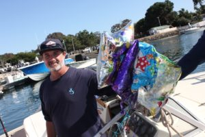 Anglers in the 2019 Yellowtail Shootout picked up 218 mylar balloons to help remove plastic from the ocean