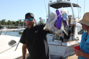 Anglers picked up mylar balloons to help remove plastic trash from the ocean at the 2019 Yellowtail Shootout