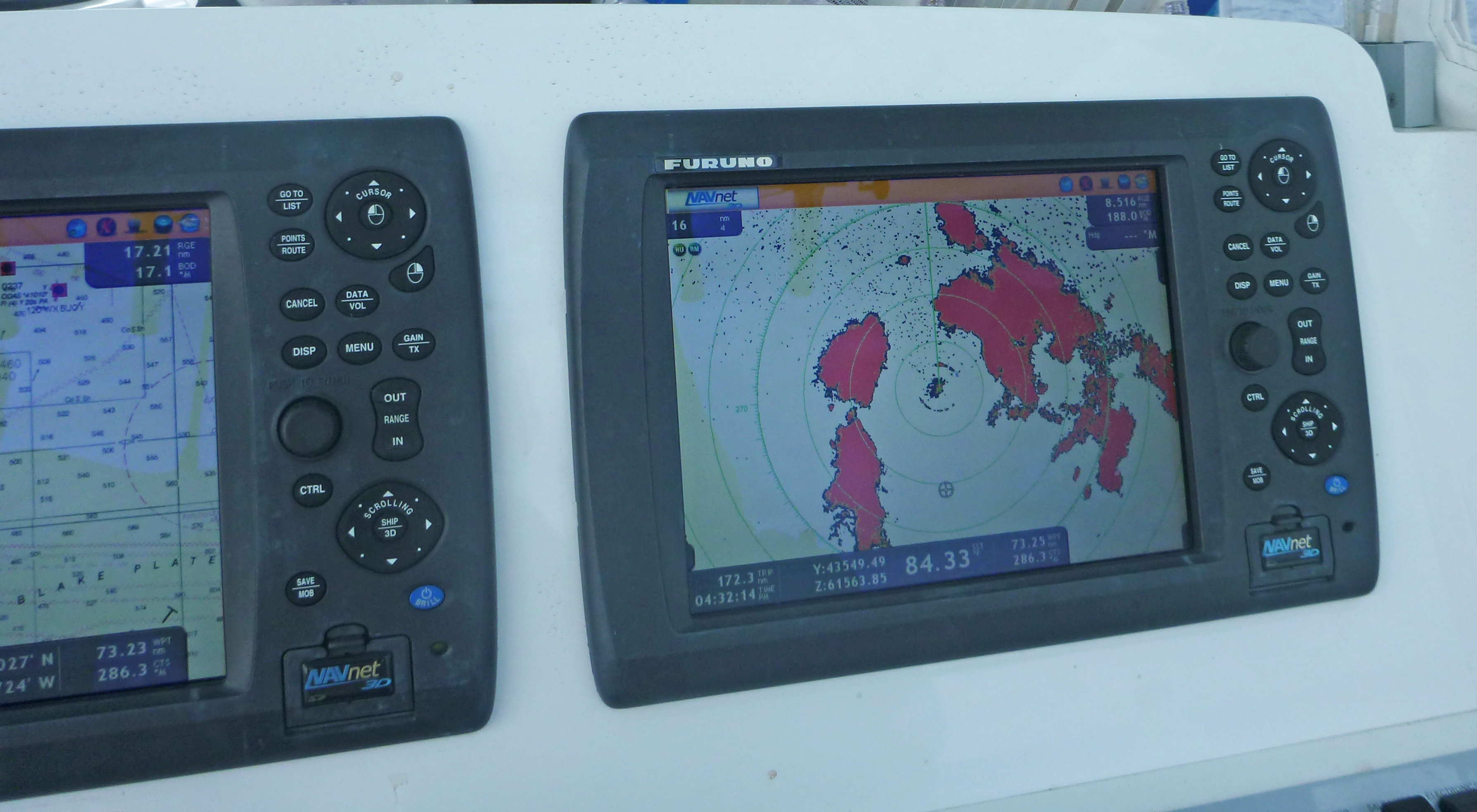 marine weather is read by radar electronics